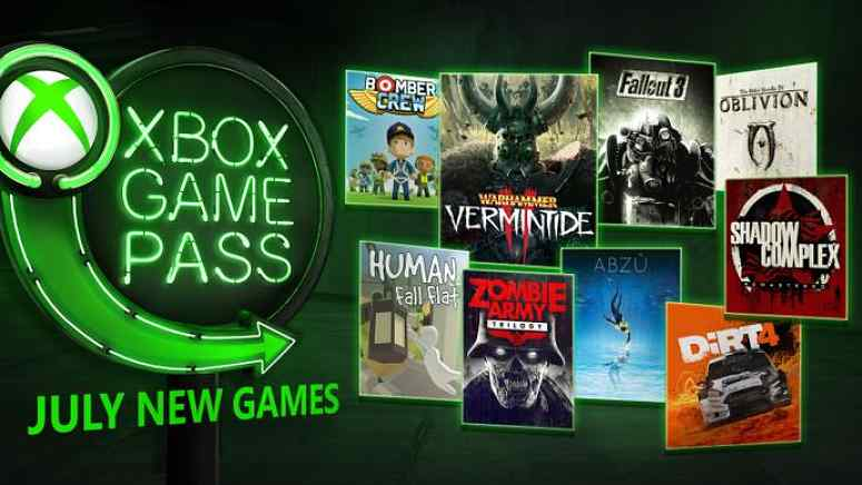 July 2018 Xbox Game Pass titles include DIRT 4, Shadow Complex and Fallout 3