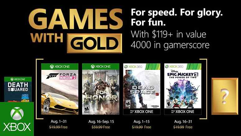 Xbox Live Games with Gold August 2018