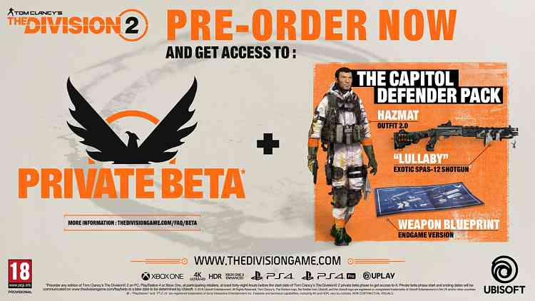 The Division 2 Pre-Order Details