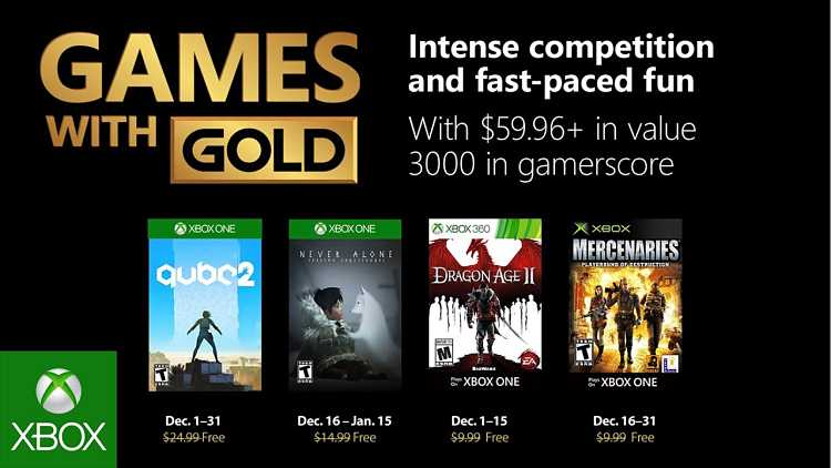 Xbox December 2018 Games with Gold