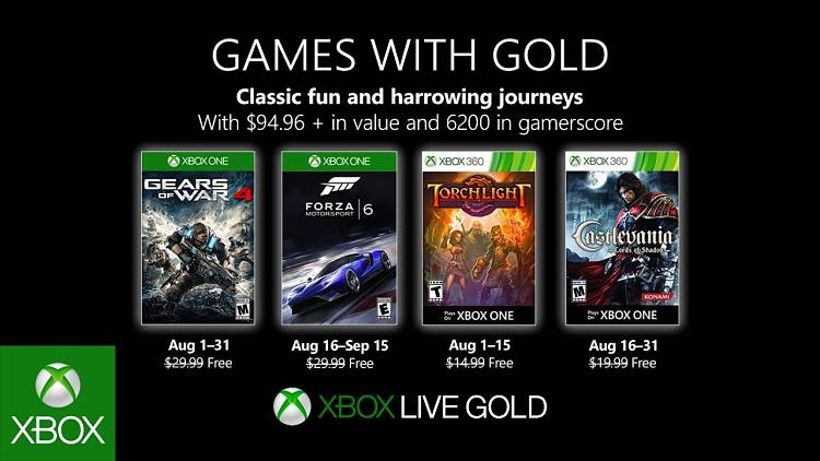 Xbox Live Games with Gold August announced