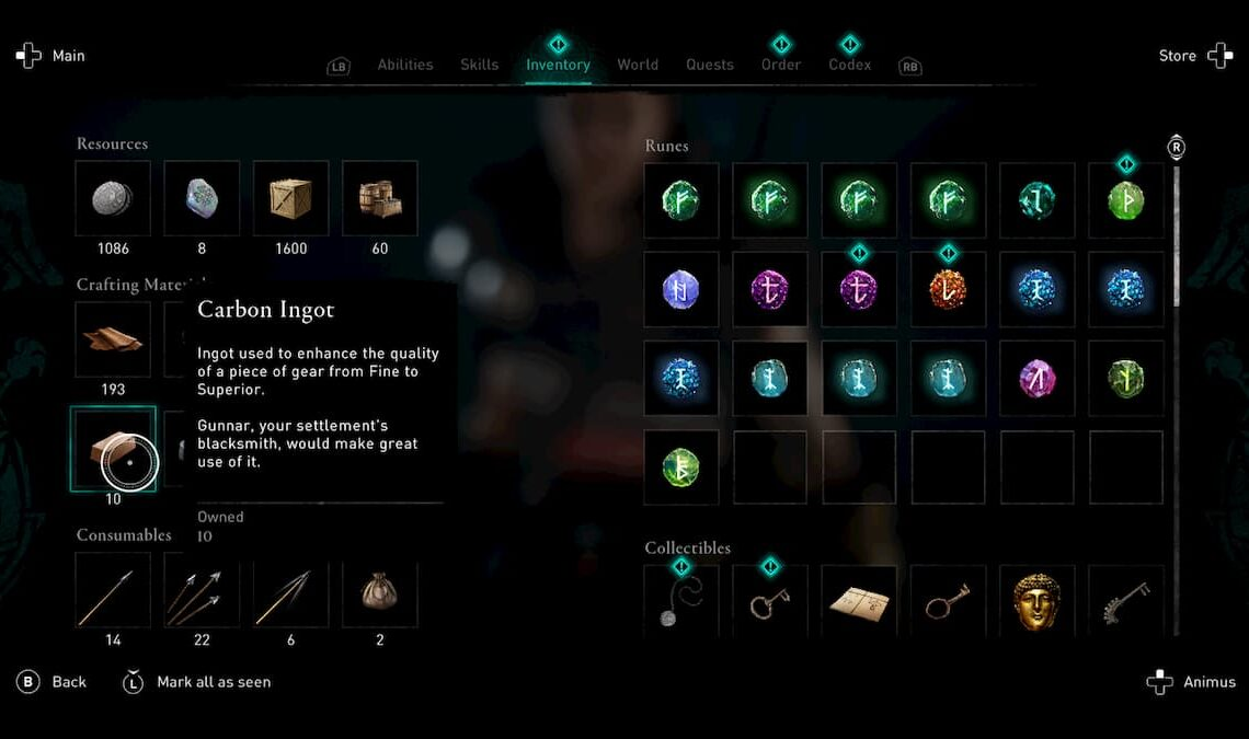 Where to find carbon ingots in Assassin's Creed Valhalla
