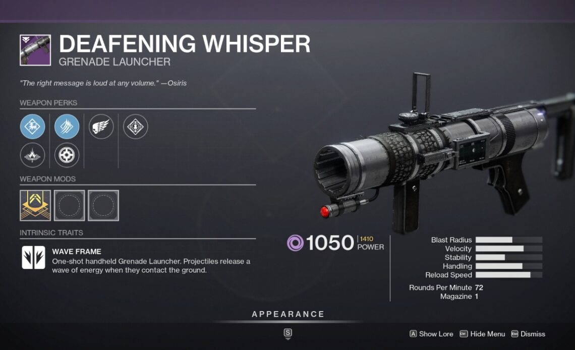 How to get the Deafening Whisper Grenade Launcher in Destiny 2